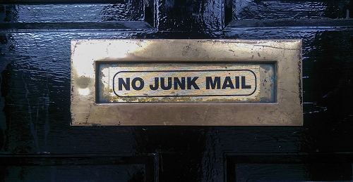 email, no junk mail notice