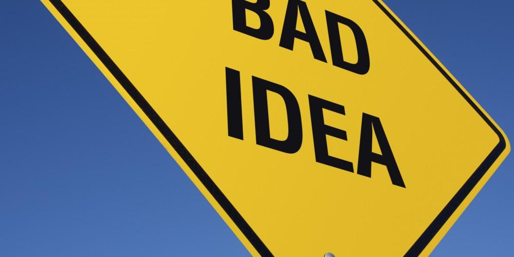 Bad Idea Road Sign, SEO Mistakes