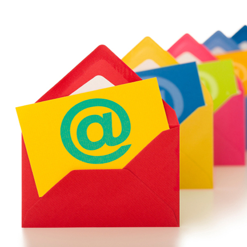 multicolored open email envelopes