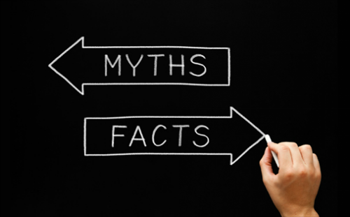 email marketing, myths and facts sign on chalkboard